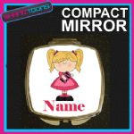 BLONDE HAIR GIRLS PERSONALISED NAME COMPACT LADIES METAL HANDBAG GIFT MIRROR